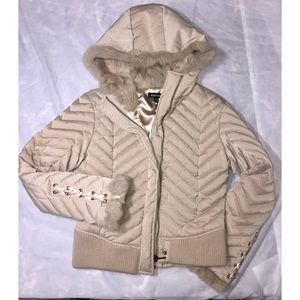 Bebe tan quilted fur jacket